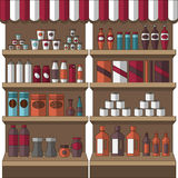 Big set of store products. In plastic and aluminum cans. Canned goods and supplies, drinks and dairy products. Retail store icon set.  object on white Stock Images