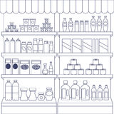 Big set of store products. In plastic and aluminum cans. Canned goods and supplies, drinks and dairy products. Retail store icon set. object on white background royalty free illustration