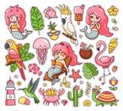 Big set of summer tropical stickers with kawaii mermaids, cockatoo, macaw, flamingo, parrot, hummingbird, crab, turtle vector illustration