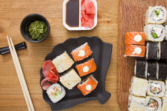 Big set of sushi and rolls Stock Photography