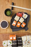 Big set of sushi and rolls Royalty Free Stock Image