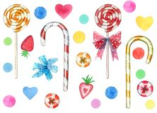 Big set of sweets elements made of red and yellow swirl lollipop sucker stick with a bow and hearts royalty free stock images