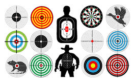 Big set of targets isolated animals people cowboy man.. Targets for shooting. Archery.  Darts board. vector Royalty Free Stock Photos