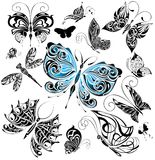 Big set of tattoo butterflies 1 Royalty Free Stock Photos