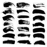 Big set of textured dry brush strokes Stock Photo