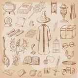 Things magician: wizard, hat, magic book, scroll, potion, broom, crystal ball, mantle, sword, cup, ring vector illustration
