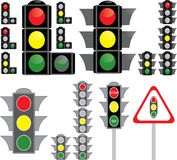 Big set of traffic light variants Stock Photos