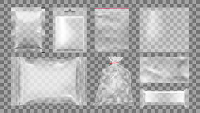 Big Set Of Transparent Empty Plastic Packaging. EPS10 Vector Stock Image