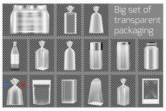 Big set of transparent packaging vector illustration
