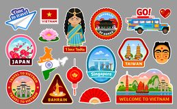 Big set of travel stickers of the Asia. Taiwan, Vietnam, Japan, Republic of Korea, Singapore, Bahrain and India. Famous monuments, architecture, buildings and stock illustration
