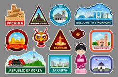 Big set of travel stickers with famous asian monuments and landmarks. Logo, symbols, labels. vector illustration