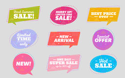 Big Set of Trendy Sale Geometric Bubbles. Flat Shapes. Bright Retro Background with Memphis Style Pattern. Hot Sale Tag, Special Offer Label, Best Price Badge Royalty Free Stock Images