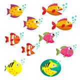 Big Set of tropical fishes, vector illustration. Fishes with open and closed mouth with bubbles. Fish flat style vector illustrati Stock Image