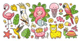 Big set of tropical summer stickers with gorgeous mermaid, cute jellyfish, pink flamingo, alpaca, colibri, cockatoo
