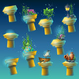 Big set of underwater ancient columns Royalty Free Stock Image