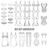 Big set of underwear. Lingerie of the hand-drawn Stock Images