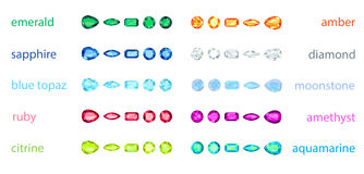 Big set of variety gemstone. No gradient, no transparency Royalty Free Stock Photo