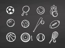 Big set of various balls on chalkboard Stock Images