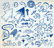 Big set of various doodle arrows Royalty Free Stock Photo
