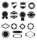 Big set of vector black silhouette frames or shapes for logo badges. Royalty Free Stock Photo