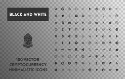 Big set of vector black and white cryptocurrency. Big set of minimalistic icons vector black and white cryptocurrency icons. Black icons on a transparent Royalty Free Stock Images