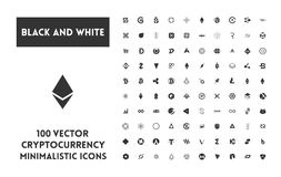Big set of vector black and white cryptocurrency. Big set of minimalistic icons vector black and white cryptocurrency icons. Black icons on a white background Royalty Free Stock Image