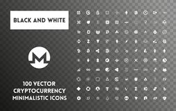 Big set of vector black and white cryptocurrency. Big set of minimalistic icons vector black and white cryptocurrency icons. White icons on a transparent Royalty Free Stock Photography