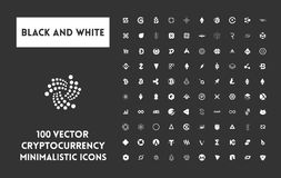 Big set of vector black and white cryptocurrency. Big set of minimalistic icons vector black and white cryptocurrency icons. White icons on a black background Stock Photos