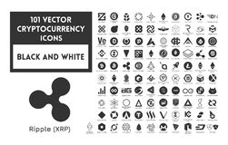 Big set of vector black and white cryptocurrency. Icons. Black icons on a white background Stock Photography