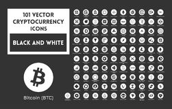 Big set of vector black and white cryptocurrency. Icons. Black icons in white circles on a black background Stock Photo