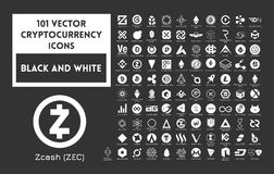 Big set of vector black and white cryptocurrency. Icons. White icons on a black background Stock Photography