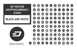 Big set of vector black and white cryptocurrency. Icons. White icons in black circles on a white background Royalty Free Stock Image