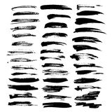 Big set of vector brush strokes texture thick black paint isolat Royalty Free Stock Photos
