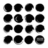 Big set of vector circle brush strokes texture filled black ink Stock Photos