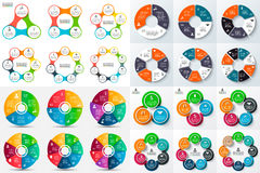 Big set of vector circle infographic. Template for cycle diagram, graph, presentation and round chart. Business concept with 3, 4, 5, 6, 7 and 8 options, parts Stock Image