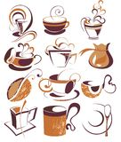 Big SET of Vector coffee,tea elements. Coffee tea cup design latte cafe menu Stock Images