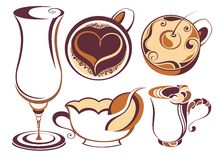 Big SET of Vector coffee,tea elements Royalty Free Stock Images