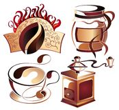 Big SET of Vector coffee,tea elements Stock Images