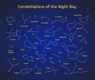 Big set of vector 28 constellations. Collection of zodiac constellations of the night sky. Elements for design flyers astronomical, astrological business cards Royalty Free Stock Photography