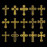 Big set of vector cross, collection of design elements for creating logos. Christian symbols. vector illustration