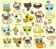Big set of vector cute funny cats and pugs Royalty Free Stock Photo