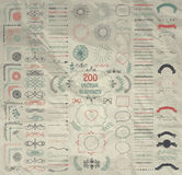Big Set of Vector Decorative Hand Drawn Design Elements Royalty Free Stock Image
