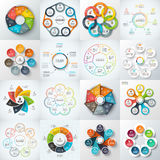 Big set of vector elements for infographic. Big set of vector heptagons, circles and other elements for infographic. Template for cycle diagram, graph. Business Stock Photo