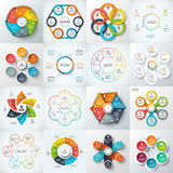 Big set of vector elements for infographic. Big set of vector hexagons, circles and other elements for infographic. Template for cycle diagram, graph. Business Royalty Free Stock Photos