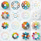 Big set of vector elements for infographic. Big set of vector octagons, circles and other elements for infographic. Template for cycle diagram, graph. Business Royalty Free Stock Photos