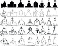 Big set of vector gravestones. Vector illustration Stock Photo