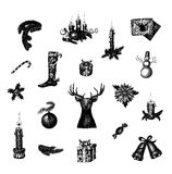 Big set of vector hand drawn Christmas and New. Year symbols. This is file of EPS10 format Royalty Free Stock Image