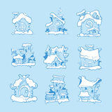 Big Set of vector hand drawn christmas or winter houses Stock Images