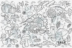 Big set of vector hand-drawn doodles objects and ellementov on autumn theme Royalty Free Stock Photo