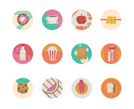 Big set of vector icons flat with shopping bags. Big set of vector icons flat with shopping bags and foods for the web Royalty Free Stock Images